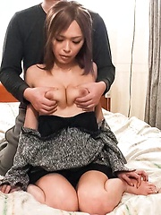 Rina Asian with naughty boobs licks boner and gets vibrators