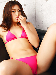 Asuna Kawai Asian in pink bath suit and heels is appetizing model