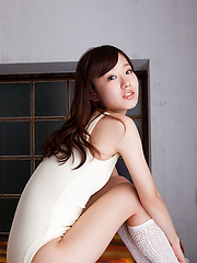 Kana Yuuki Asian in white bath suit moves with grace and passion