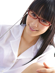 Yuri Hamada Asian teacher with specs and sexy legs shows big cans