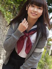 Yuuri Shiina Asian in school uniform is so cute while walking