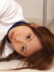 Satsuki Konichi Asian in sports equipment plays at locker room