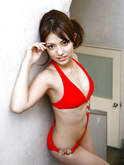 Aya Teraoka Asian has hot curves in white lingerie and pictured