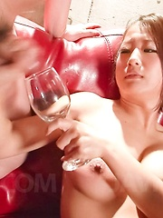 Satomi Suzuki Asian gets vibrators on hairy pussy and drinks cum