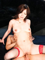 AYAMI Asian gets vibrator and cocks in mouth and in fish taco