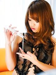 Sayaka Fukuyama Asian brings orgasms in her slit with vibrators