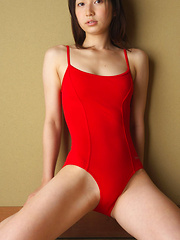 Kaori Ishii Asian busty in red gym suit shows how flexible she is