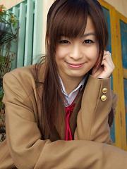 Hikari Yamaguchi Asian in uniform and coat wants to share choco