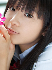 Miho Morita Asian in school uniform loves flowers and fresh air