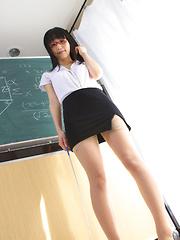 Yuri Hamada Asian shows sexy legs in stockings while teaching