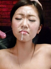 Akina Nakahara Asian has vibrator in pussy and face in sperm rain