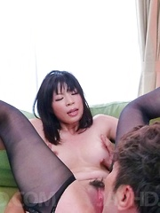 Saki Aoyama Asian has beaver fucked with tongue and phallus
