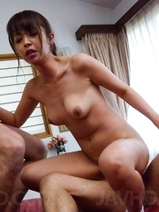 Marika Asian has tits touched while sucking and rubbing dongs
