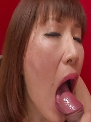 Reiko Shimura Asian busty licks penis and sucks it till gets cum