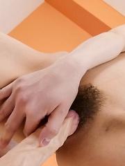 Tsubasa Aihara Asian sucks dildo before sticking it in hairy twat