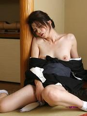 Sayuri Shiraishi moans during solo action.