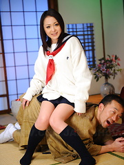 Arousing girl Rui Natsukawa sits on servant