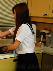 Sexy teen Suzuka Ishikawa gives head at home