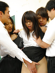 Horny teacher Maho Sawai gets in group sex