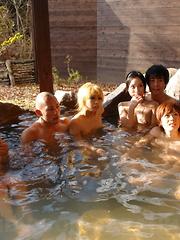 Lusty girls suck hard rods in hot springs