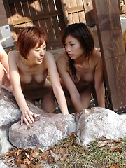 Lusty girls suck hard rods in hot springs