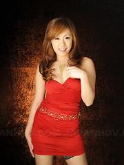 Blonde hottie Yurina poses on photo shoot