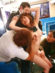 Pale redhead Yayoi Yoshino gets in group sex