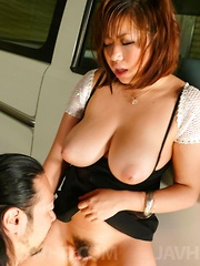 Neiro Suzuka Asian with huge boobs has cunt licked and sucks tool
