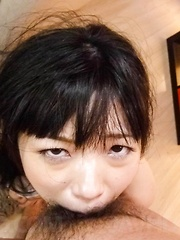 Hina Maeda Asian sucks dicks and plays with cum she gets in mouth