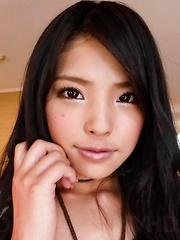 Eririka Katagiri Asian exposes ass and vagina while sucking penis