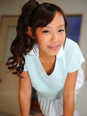 Cute Japanese schoolgirl Nagisa shows off