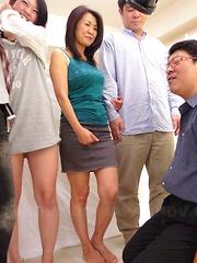 Lovely Japanese MILF babe teasing herself