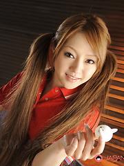 Cute Ria Sakurai shows her natural titties