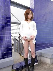 Hot Miina Yoshihara shows her cunt outdoors