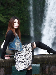 Sexy darling Sakurako showing off outdoors