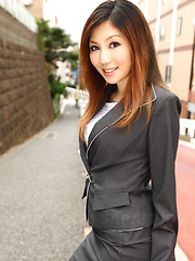 Fine office gal Yuria Kanno posing outdoors