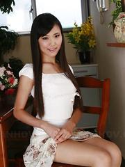 Shiho Miyasaki displays her shaved vagina