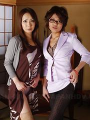 Ryo Shinohara and Kumiko Aida showing off