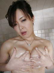 Hot slut Sayaka Takase soaps her sexy body
