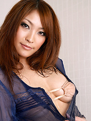 Rika Hoshimi Asian with oiled body has big boobs in tight bra