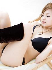 Runa Hamakawa Asian in boots exposes naughty behind in thong