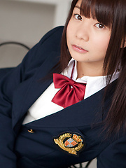 Mana Asian doll in school uniform is naughty and happy after hour